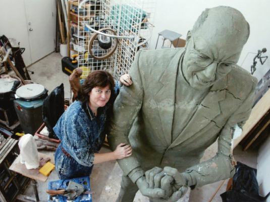 Margot McMahon with Jack Egan sculpture in process