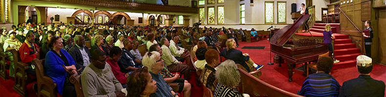 The crowd at the dedication ceremony in the Kenwood United Church of Christ